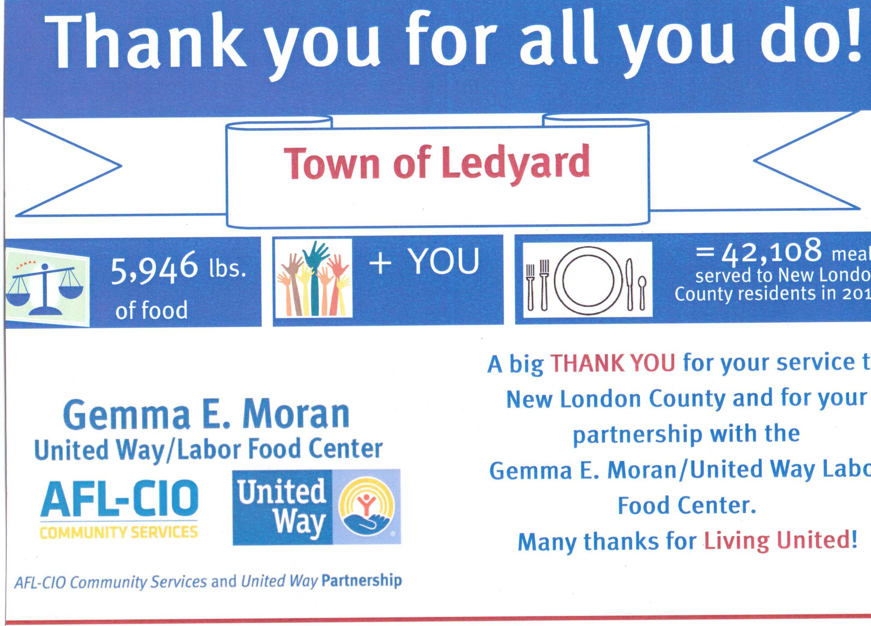 Poster from United Way thanking Town of Ledyard